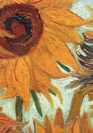 Vase with Twelve Sunflowers, .c1888 (detail) by Vincent Van Gogh art print