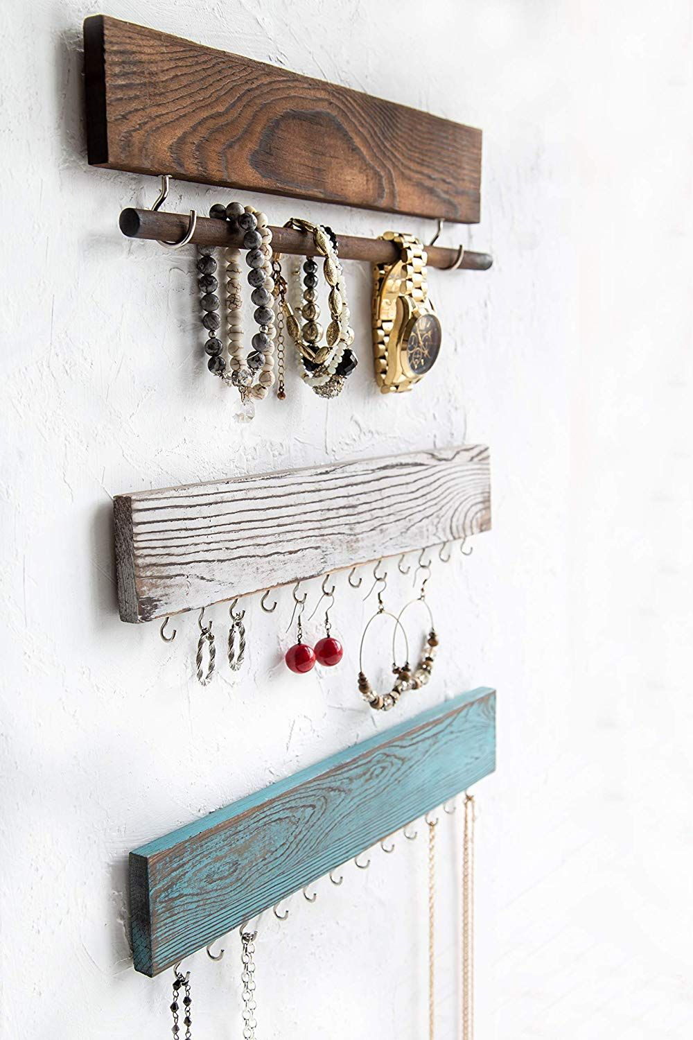 Rustic Home Decor Accents This High Quality Jewelry Holder Is Made Of Sturdy Paulownia Wood Rustic Jewelry Display Wood Jewelry Display Jewelry Organizer Wall