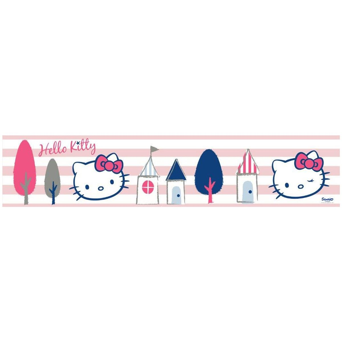 Hello Kitty Pink And White Stripe Self Adhesive Wallpaper Border 5m Self Adhesive Wallpaper Borders Wallpaper Border Self Adhesive Wallpaper