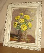 "Signed Mary Lou Johns 1970""Bucket  Marigolds"" Beautifully Framed Oil Painting"