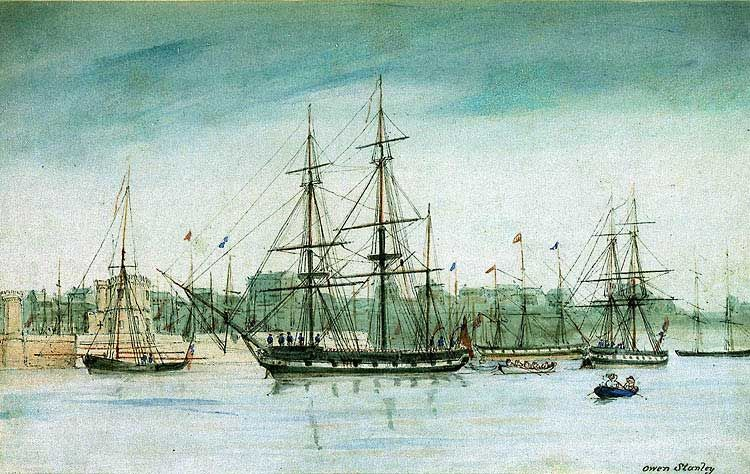 In 1837 HMS Beagle set off on a survey of Australia, and is shown here in an 1841 watercolour by captain Owen Stanley of Beagle's sister ship Britomart.