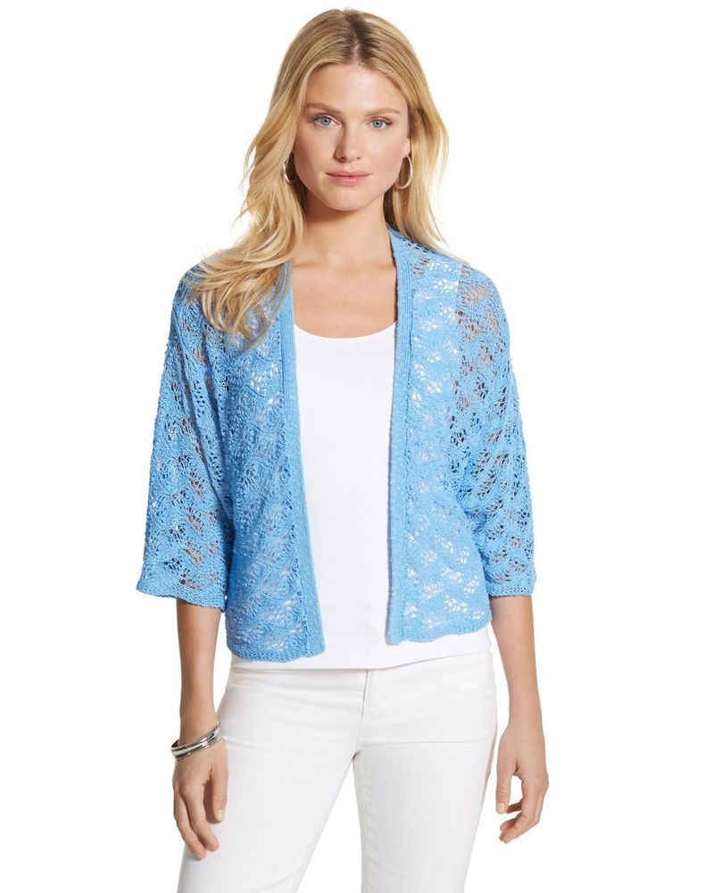 NWT Chico's Size 3 Patrice Shrug Sweater Open Front Cardigan Light ...