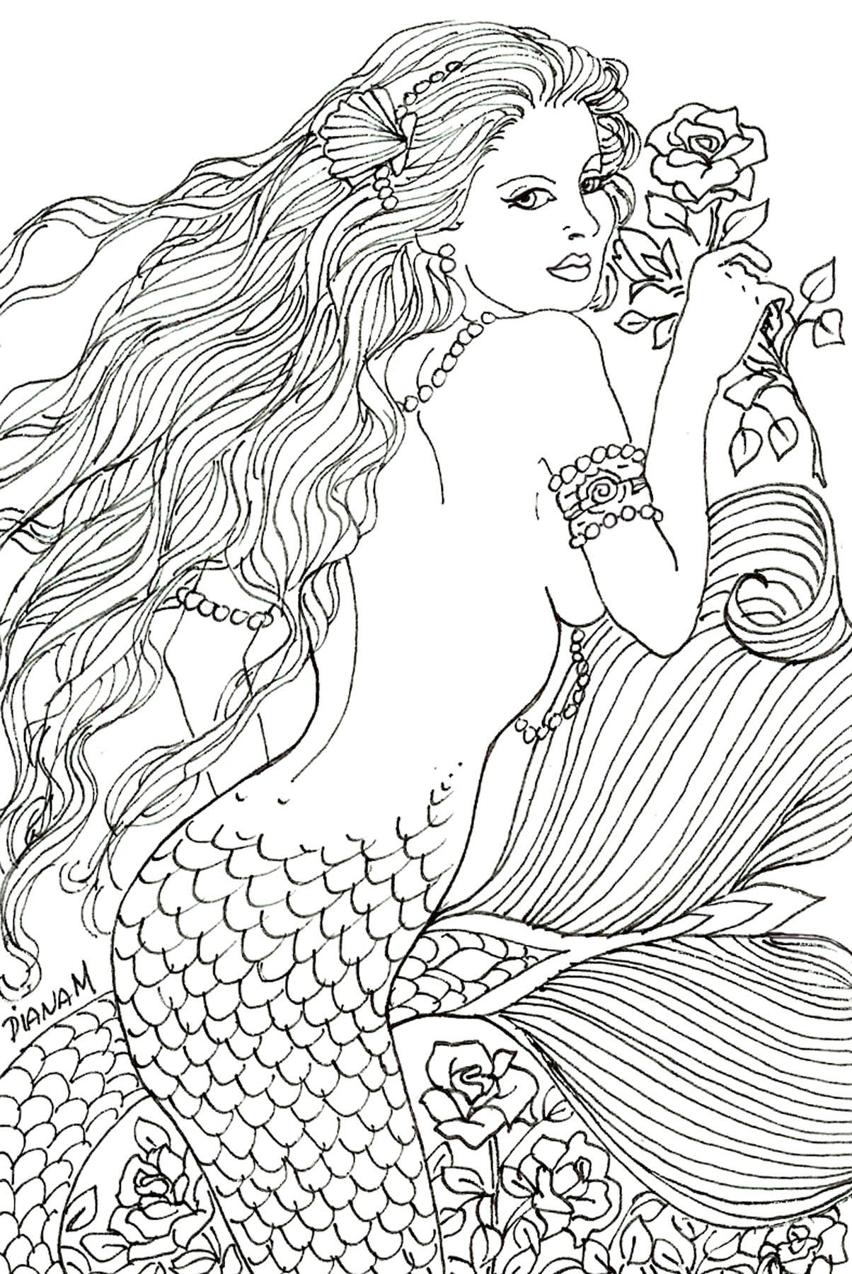 I Love Roses Mermaid Coloring Mermaid Coloring Pages Coloring Books