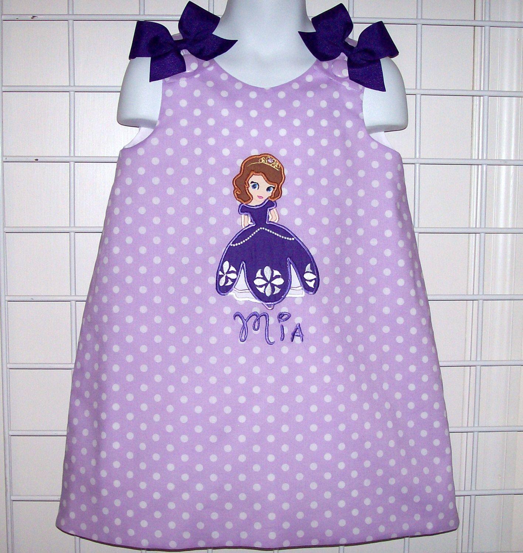 Princess Sofia the First Applique Purple Lavender Polka Dot Birthday ...