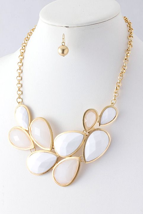 "White jeweled teardrop jewel link fashion statement necklace bib & gold earrings - White & Gold  Color:  White / Gold Length approx 20"" lobster claw clasp with 3"" extender Lead and nickel free  Matches perfectly with the oval sunburst ring in white I also available"