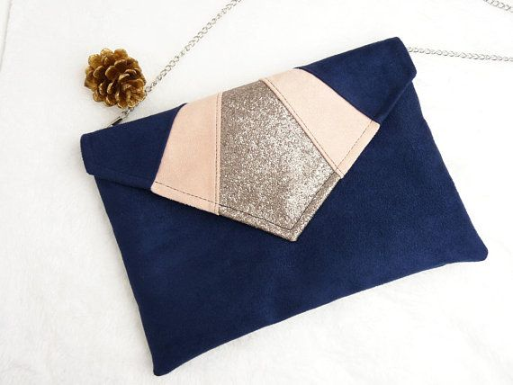 pochette enveloppe de soir e mariage bleu marine et rose. Black Bedroom Furniture Sets. Home Design Ideas