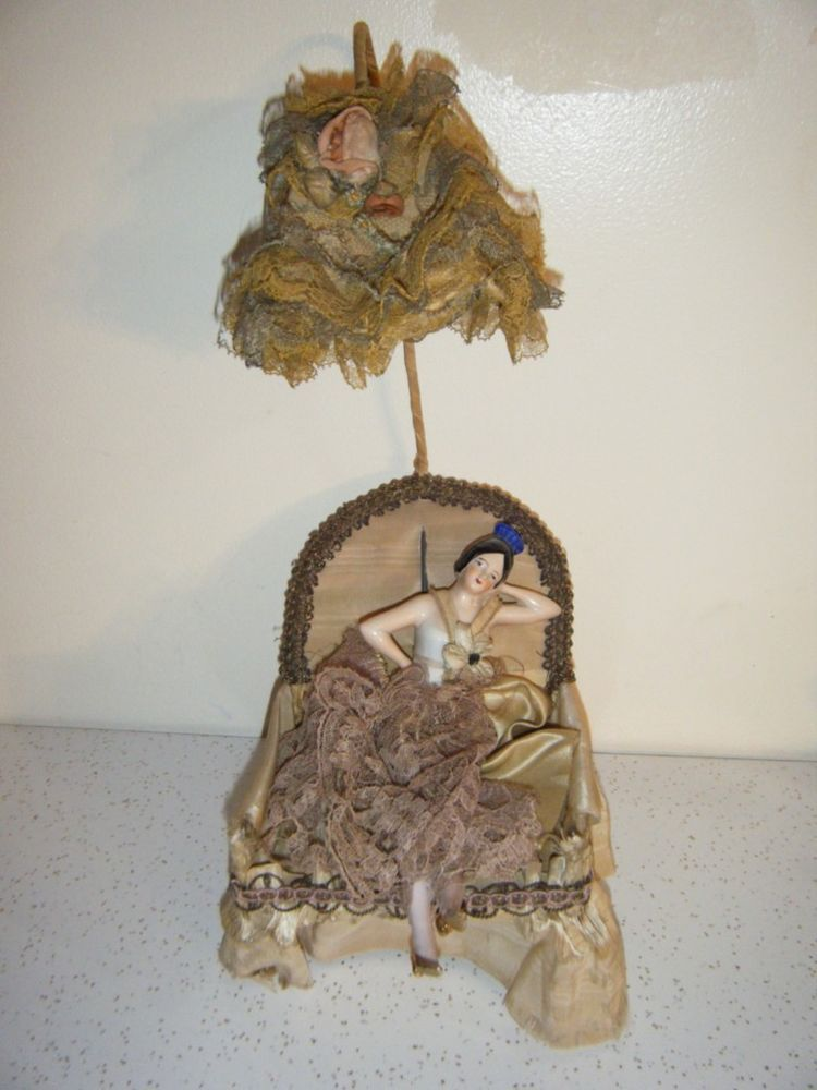 """Amazing Spanish Dancer 3 3/4"""" Half Doll  in Chair & Lampshade Germany  RARE"""