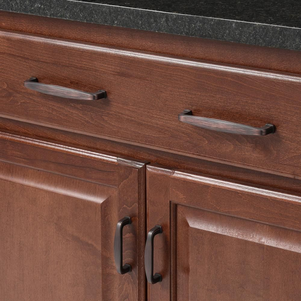 Richelieu Hardware 5 1 16 In 128 Mm Center To Center Brushed Oil Rubbed Bronze Transitional Drawer Pull Bp810128borb The Home Depot Oil Rubbed Bronze Pulls Oil Rubbed Bronze Drawer Pulls