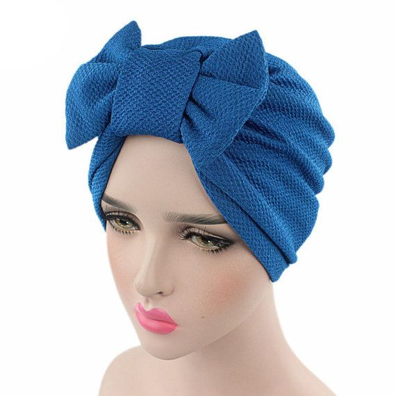 f453b737e Blue Bowknot Hat, Bow Tie Turban , Knitted Cap Beanie Hat , Stretch ...