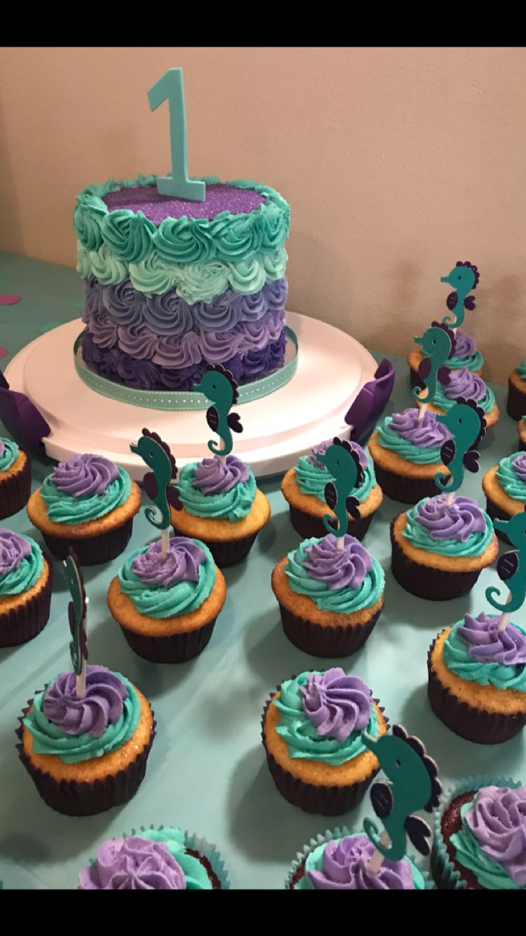 Purple Teal Seahorse First Birthday Cake Display