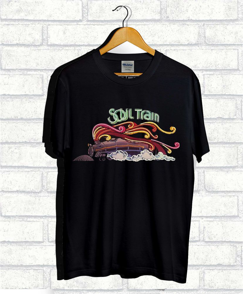New Soul Train Music TV Show Train Logo Mens Black T-Shirt Size S-3XL