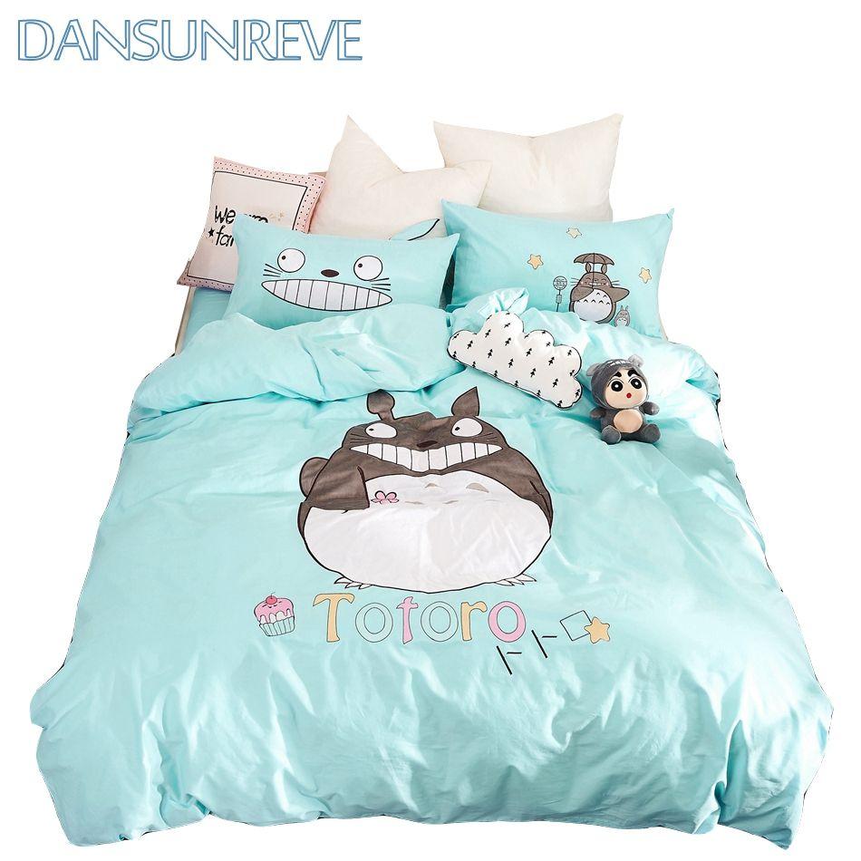 Duvet Cover Twin Set Kids Bedding Queen Size Cotton Set Bedding Cartoon Duvet Cover Set Totoro Bedding Set With Images Duvet Cover Sets King Bedding Sets Duvet