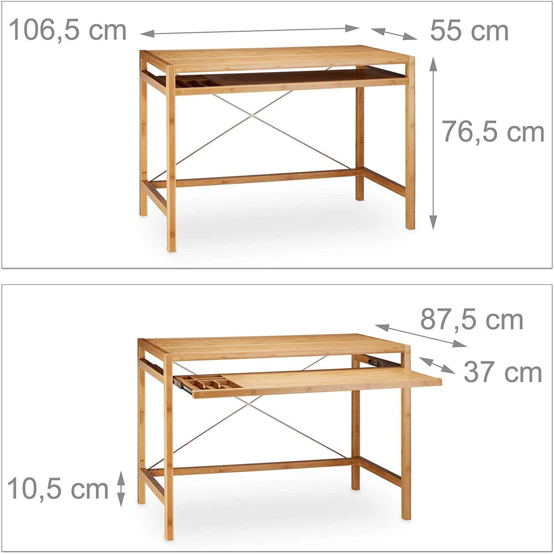 Relaxdays Computertisch Holz Tastaturauszug Burotisch Ausziehbar Schreibtisch Massiv Hxbxt 76 5x106 5x55 5cm Natur Amazon Burotisch Computertisch Tisch