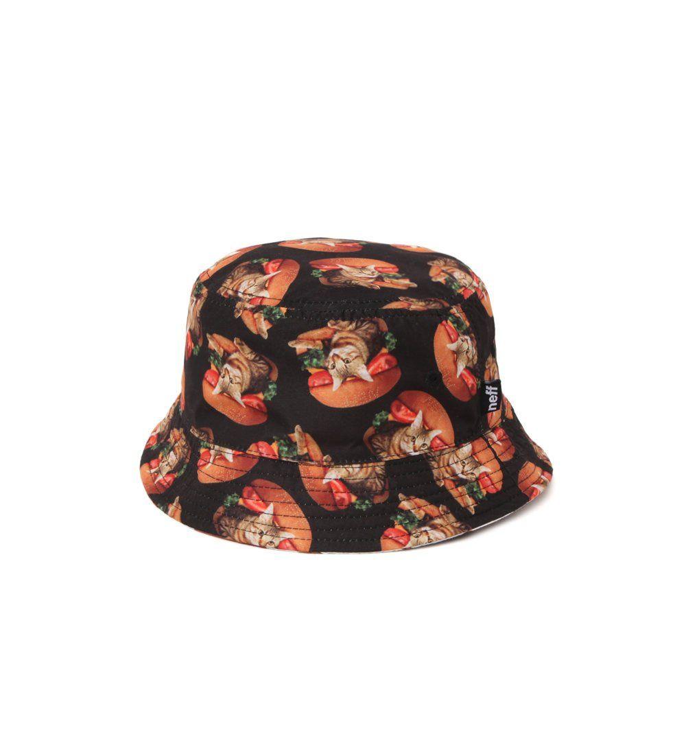 9a242d4caa6 Neff Mens Burger Cat Reversible Bucket Hat