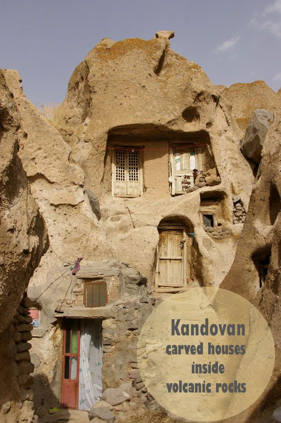 The houses in Kandovan, a beautiful rocky village, are not built on the mountain but carved inside the volcanic rocks partially formed by volcanic remains from a strong Mount Sahand eruption hundreds of years ago.  #RediscoverIran #PersiaPort #Iran #Travel #traveltip