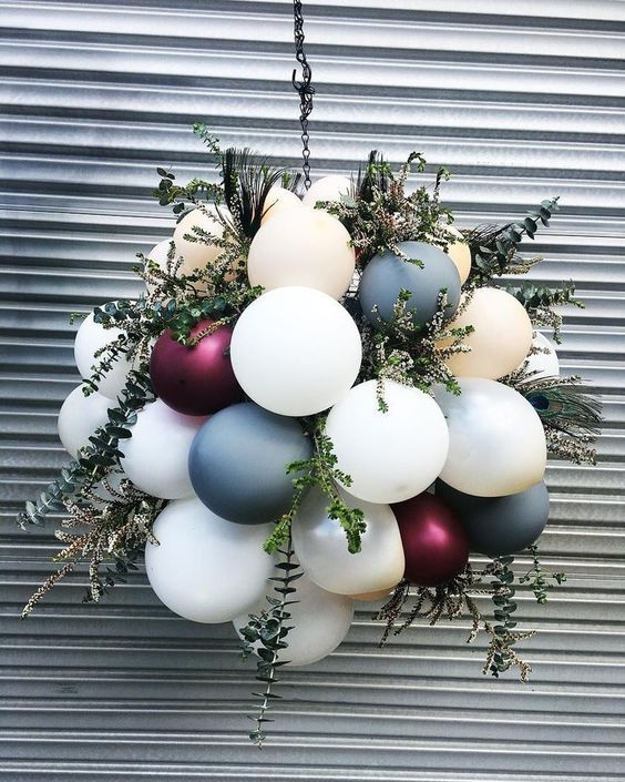 """Balloons delivered - Melbourne on Instagram: """"These balloon hangings just smell so good ⚡️🌿 - Neutral colour palette + wild foliage + peacock feathers! L O V E - #theheydayclub…"""""""