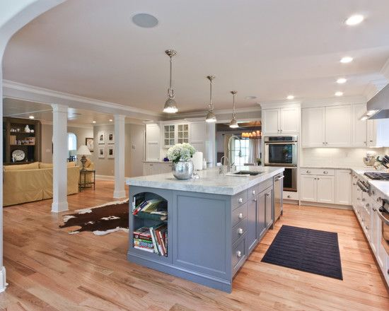 galley kitchen with island open concept design