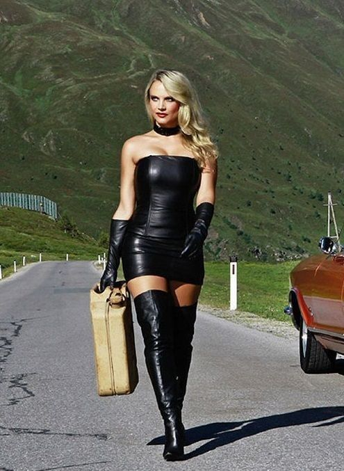Sexy Blonde In Black Leather Minidress Thigh Boots Gloves Leather