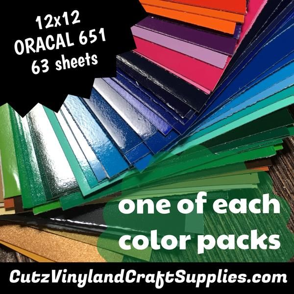 One Of Each Color Pack Oracal 651 63 12x12 Sheets Oracal Vinyl Adhesive Vinyl