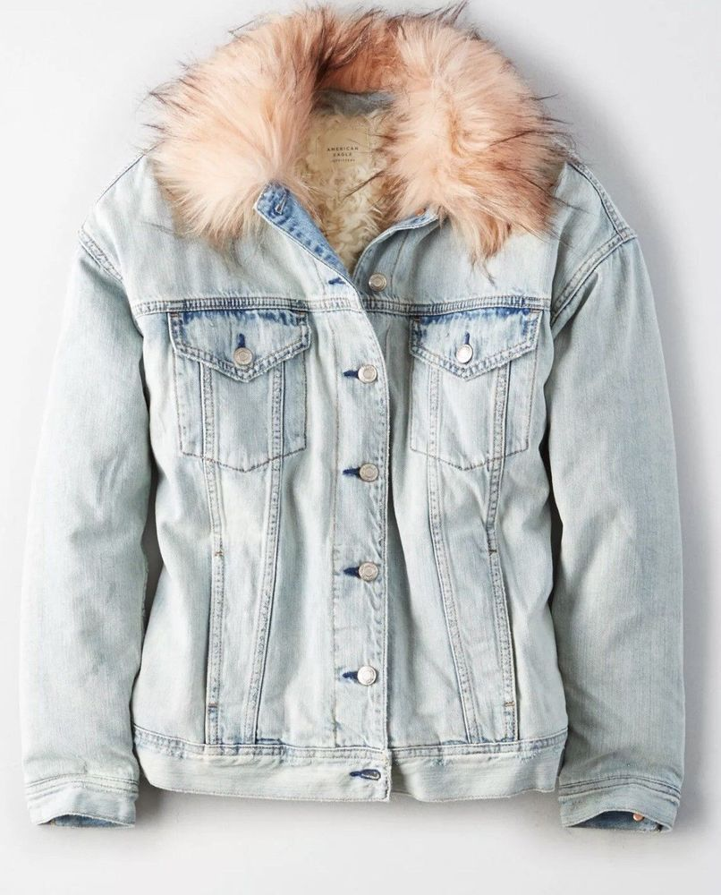 L NWT American Eagle women/'s AE Faux Fur Sherpa Lined Denim Jean Jacket S XL