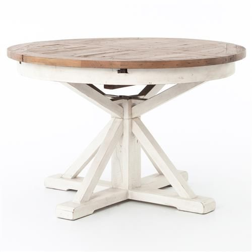 Barnes Modern Classic Round Wood Whitewash Extension Dining Table 48 63 Inch Expandable Round Dining Table Extendable Dining Table Round Pedestal Dining Table
