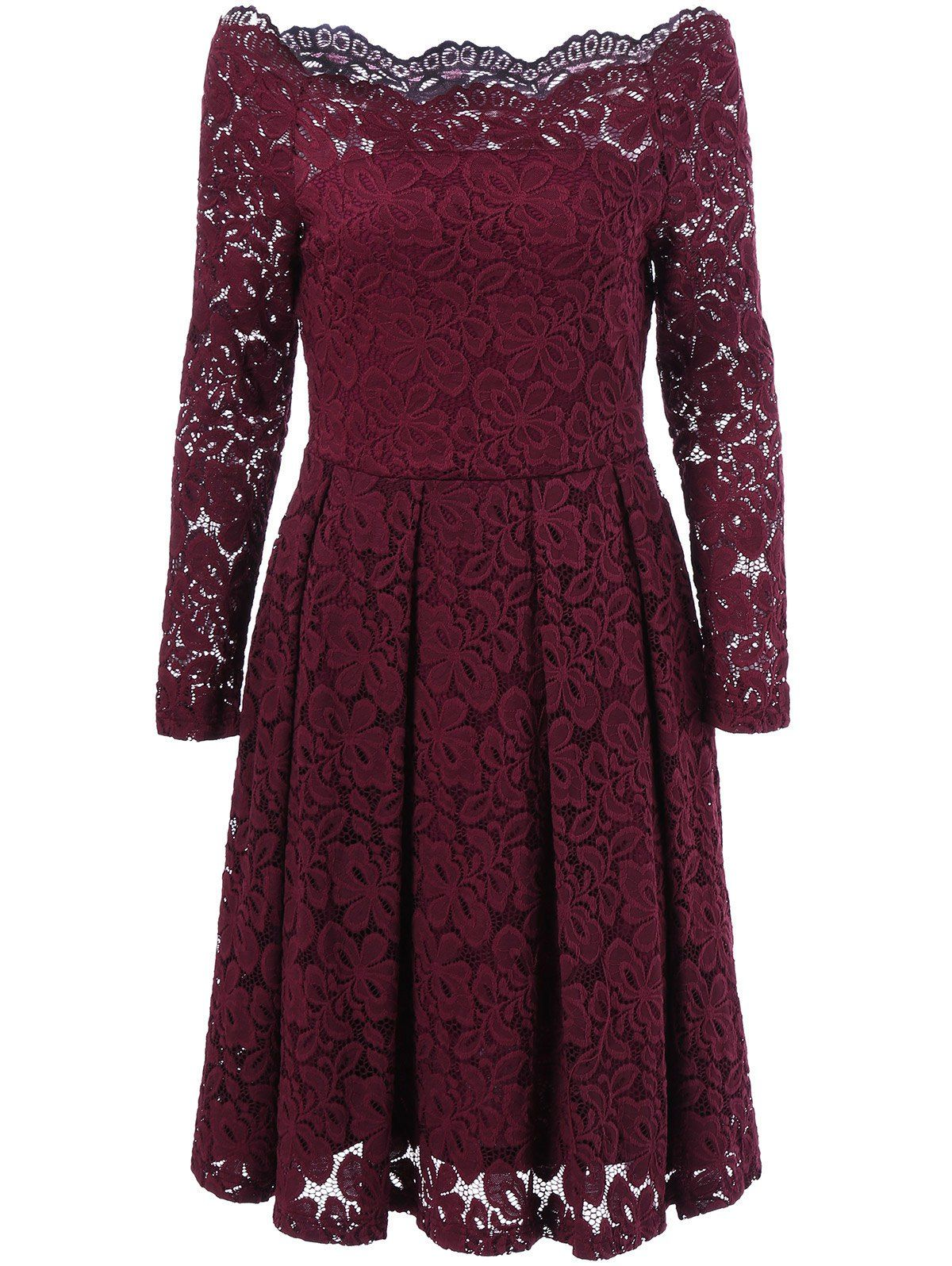 bf73b1fb9b7a  16.17 Off-The-Shoulder Lace Swing Dress in Claret