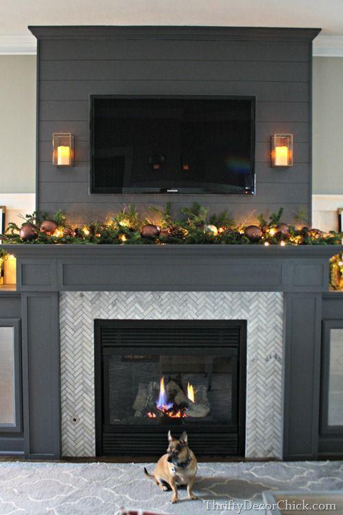 Herringbone Marble Fireplace Surround