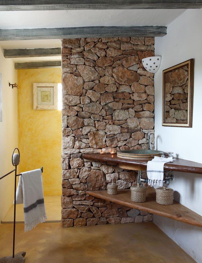 Decoração rústica para pia de banheiro casa de la colonia