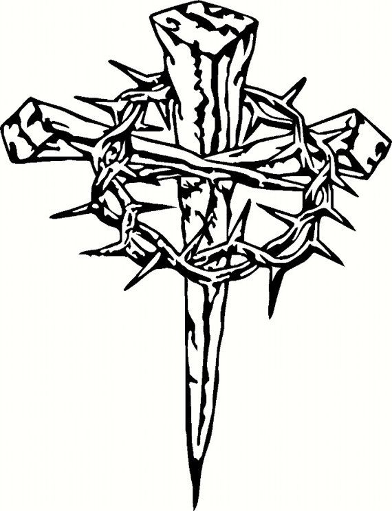 Vinyl Cross With Crown Of Thorns Wood Burning Patterns