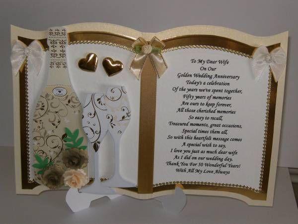 Luxury Golden Wedding Anniversary Card For Wife Golden Wedding Anniversary Card Wedding Anniversary Cards Anniversary Cards For Wife