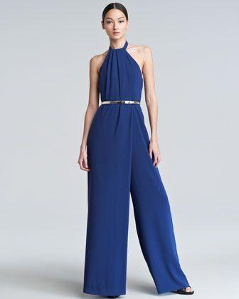 Halter Wide-Leg Jumpsuit, Blue by Escada at Neiman Marcus.