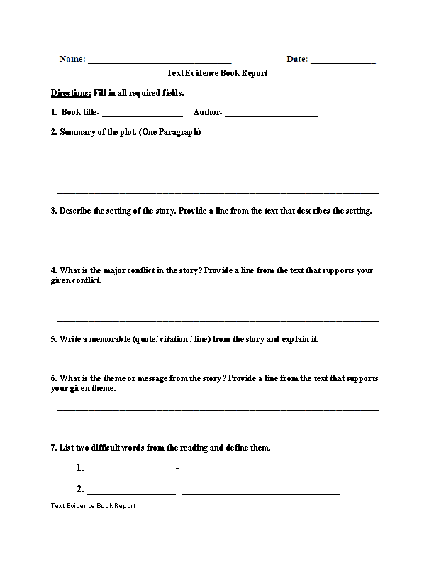 Book Report Text Evidence Worksheet  EnglishlinxCom Board