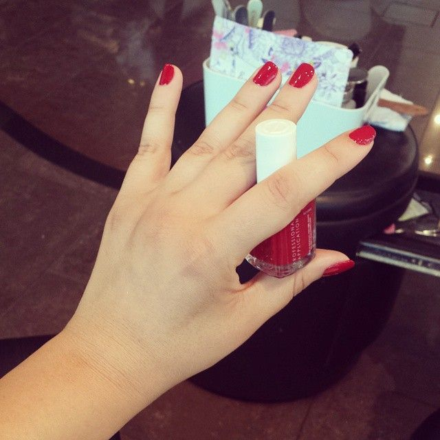 Wearing #red again ♡ #381 #FishnetStockings from @essiepolish #essie #nailbar #nailpolish #KW #Q8 #Kuwait