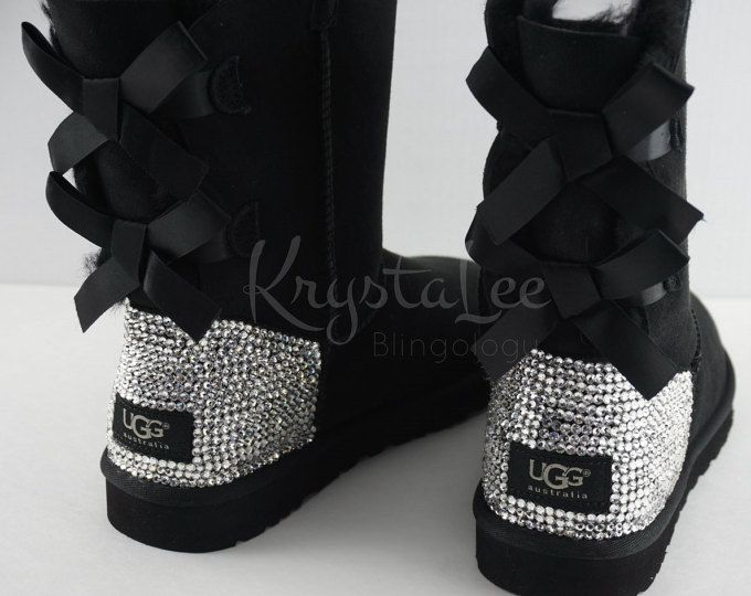 Bling Ugg Bailey Bow Women S Custom Garnet Ugg Boots