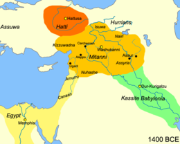 Mitanni (Hittite cuneiform KUR URUMi-ta-an-ni, also  Mi-it-ta-ni) or Hanigalbat (Assyrian, Khanigalbat cuneiform ) or Naharin in ancient Egyptian texts, was an Hurrian-speaking state in northern Syria and south-east Anatolia from ca. 1500 BC–1300 BC. Founded by an Indo-Aryan ruling class, Mitanni came to be a regional power after the Hittite destruction of Amorite Babylon and a series of ineffectual Assyrian kings created a power vacuum in Mesopotamia.