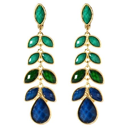 Make a bold fashion statement with these eye-catching earrings, featuring a gold finish and faceted faux stone drops.   Product: