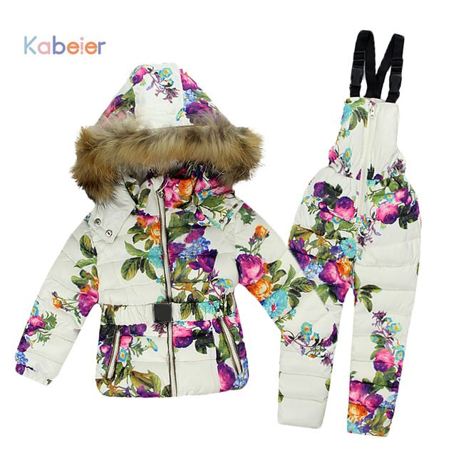 54654b28d052 Check lastest price Winter Clothing Set for Girls Flowers Down Coat ...