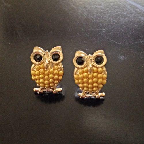 $10 Jewelry Special - Beaded Owl Earrings (yellow) - $10