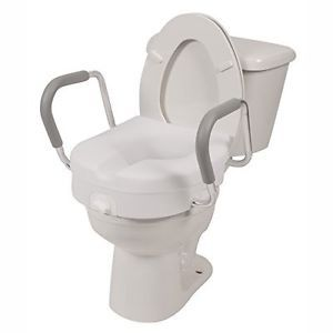 Molded Toilet Seat Riser 5 Inch Lift With Detachable Arms