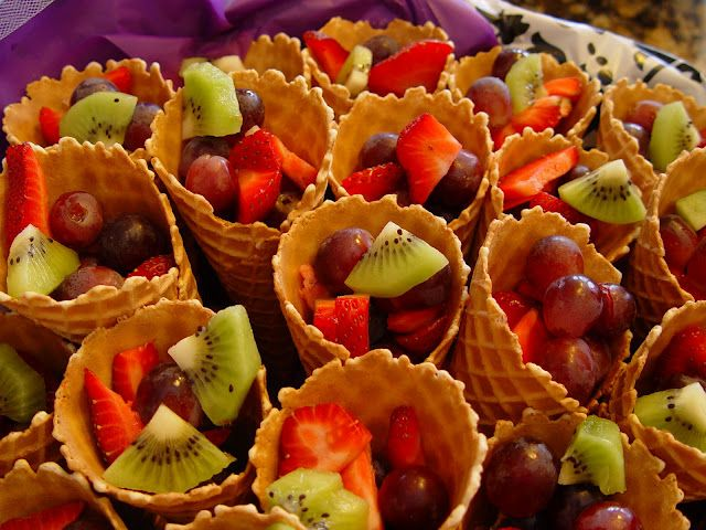 waffle cone fruit cup with vanilla cream. YUM