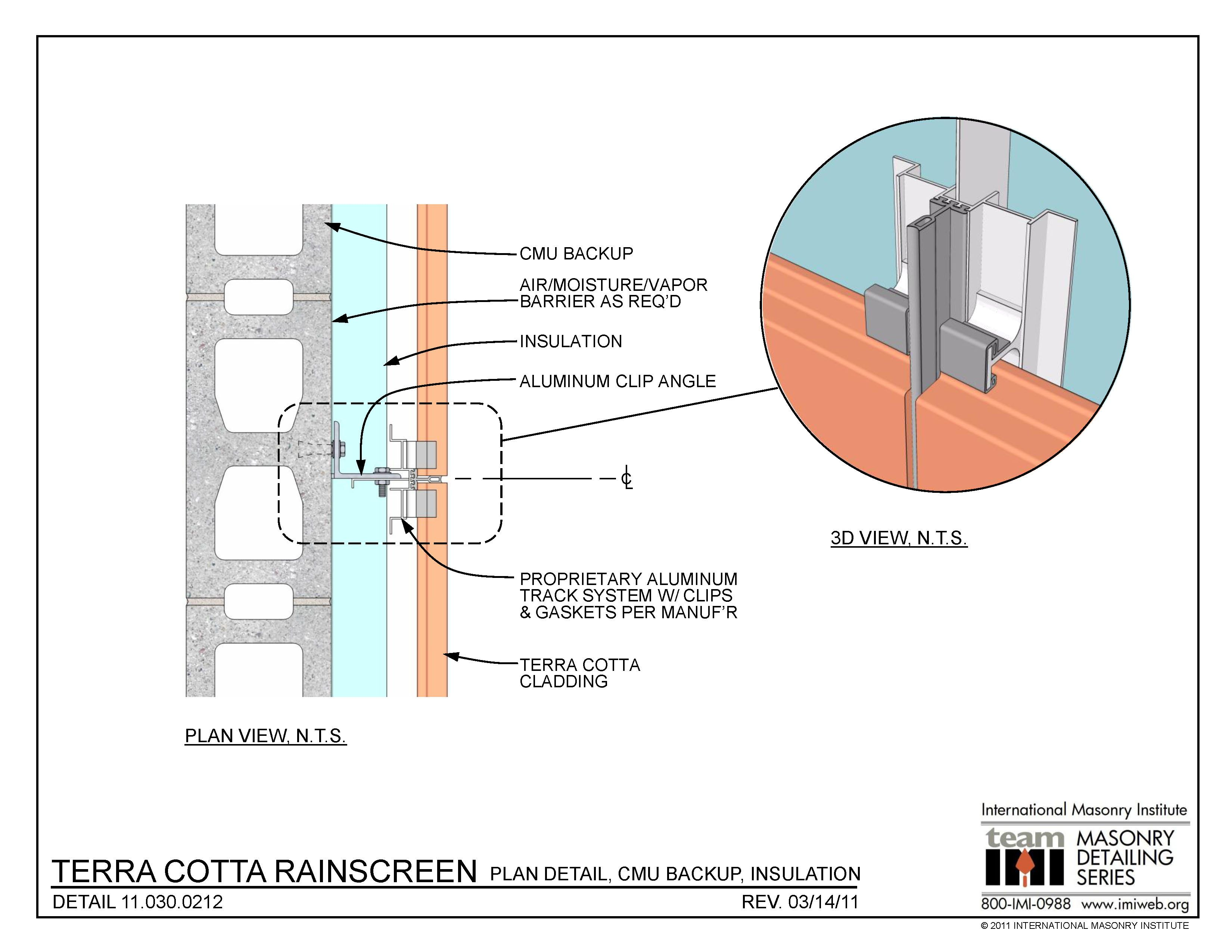 Terra cotta rainscreen plan detail cmu for Insulated concrete masonry units