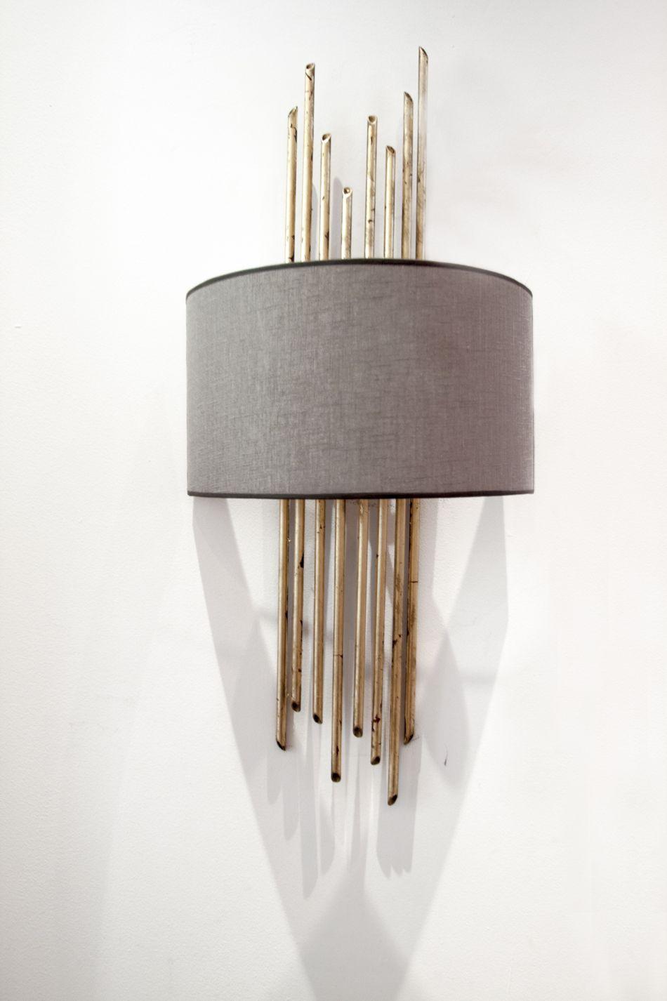 Lampara De Pared Color Dorado Aplique Bambu Hierro Iron Wall Lamp Golden Color Bamboo Overlay Lampara De Pared Apliques De Pared