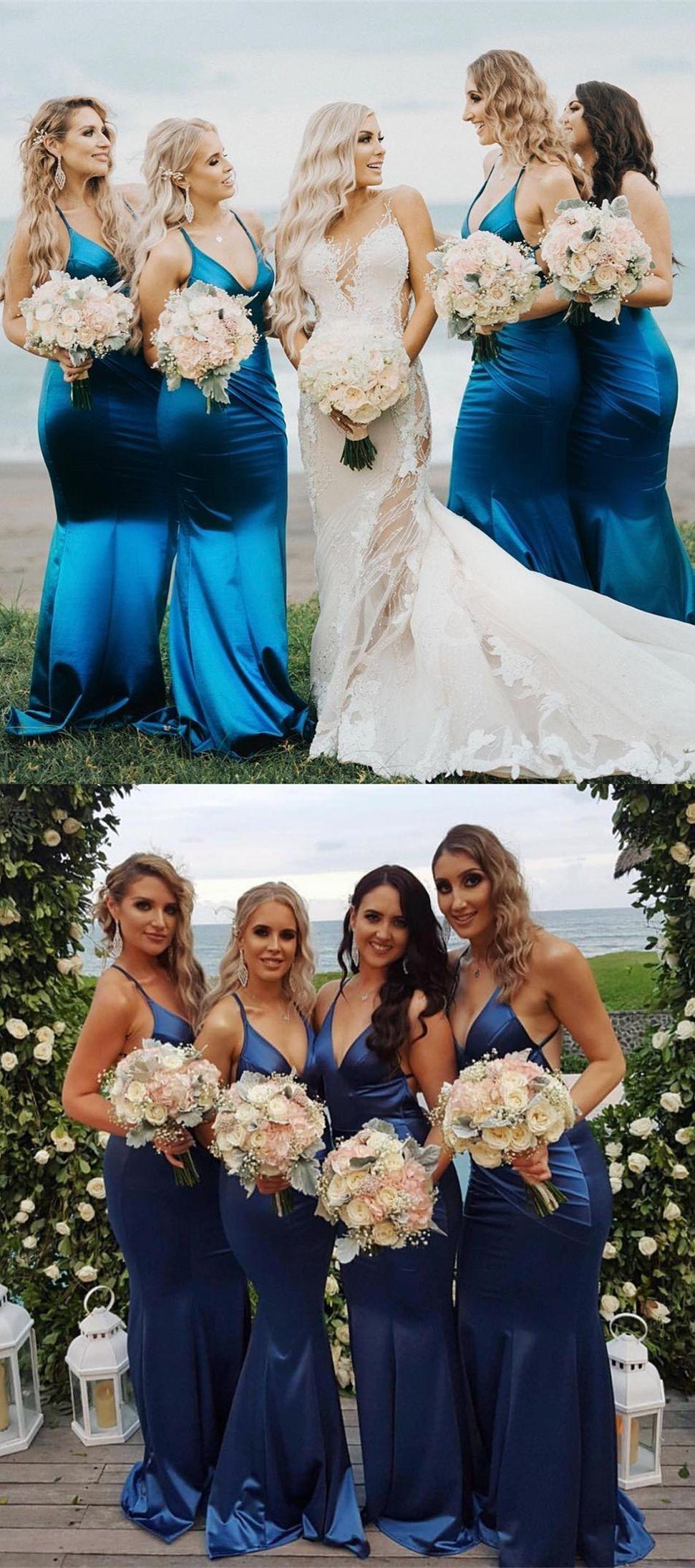 Mermaid vneck backless sweep train dark blue bridesmaid dress with