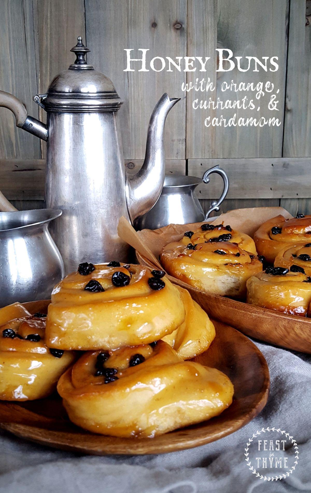 Honey Buns with Orange, Currants & Cardamom