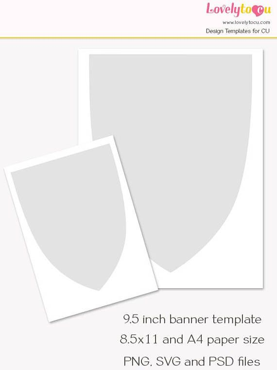 Pennant Banner Template  Inch Banner Printable Craft