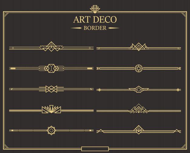 Set Of Art Deco Gold Calligraphic Page Dividers Premium Vector Art Deco Borders Art Deco Pattern Art Deco