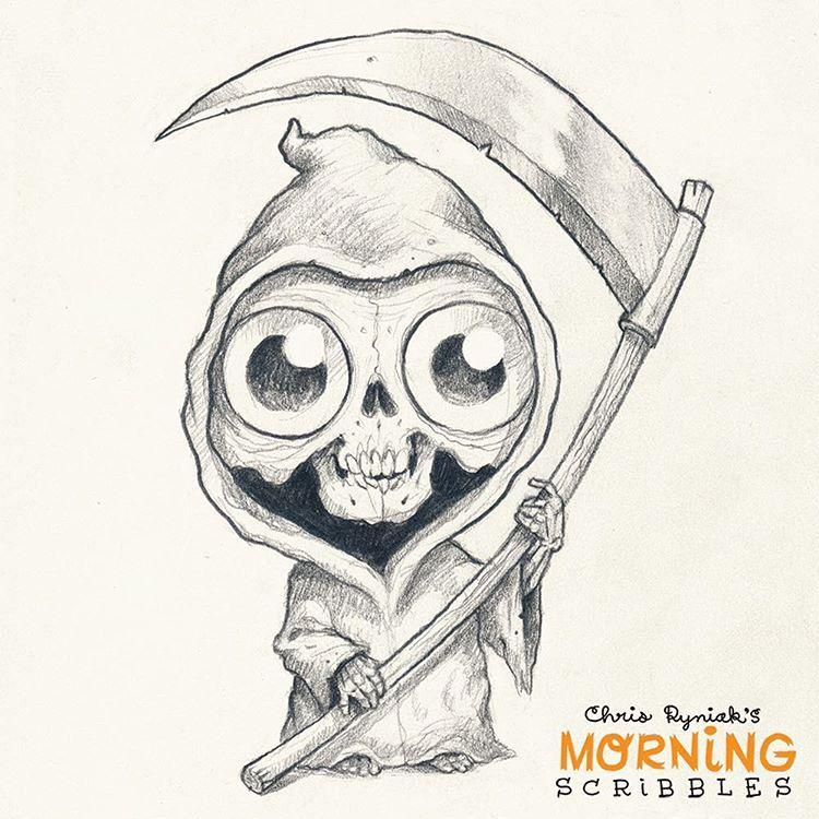 Lil' Reaper! #morningscribbles #halloween #october | Morning ...