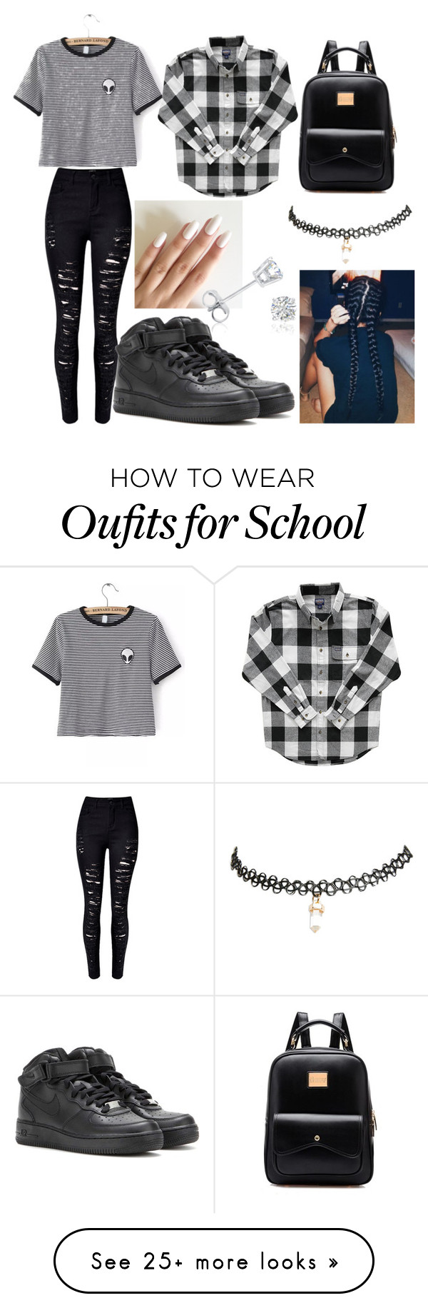 """""""My first day of school outfit"""" by splashofme on Polyvore featuring WithChic, NIKE, Wet Seal and Amanda Rose Collection"""