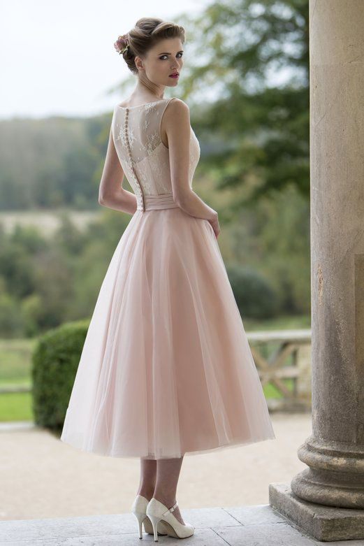 Button Back Sleeveless Blush Lace And Tulle Tea Length Wedding - Mid Length Wedding Dresses