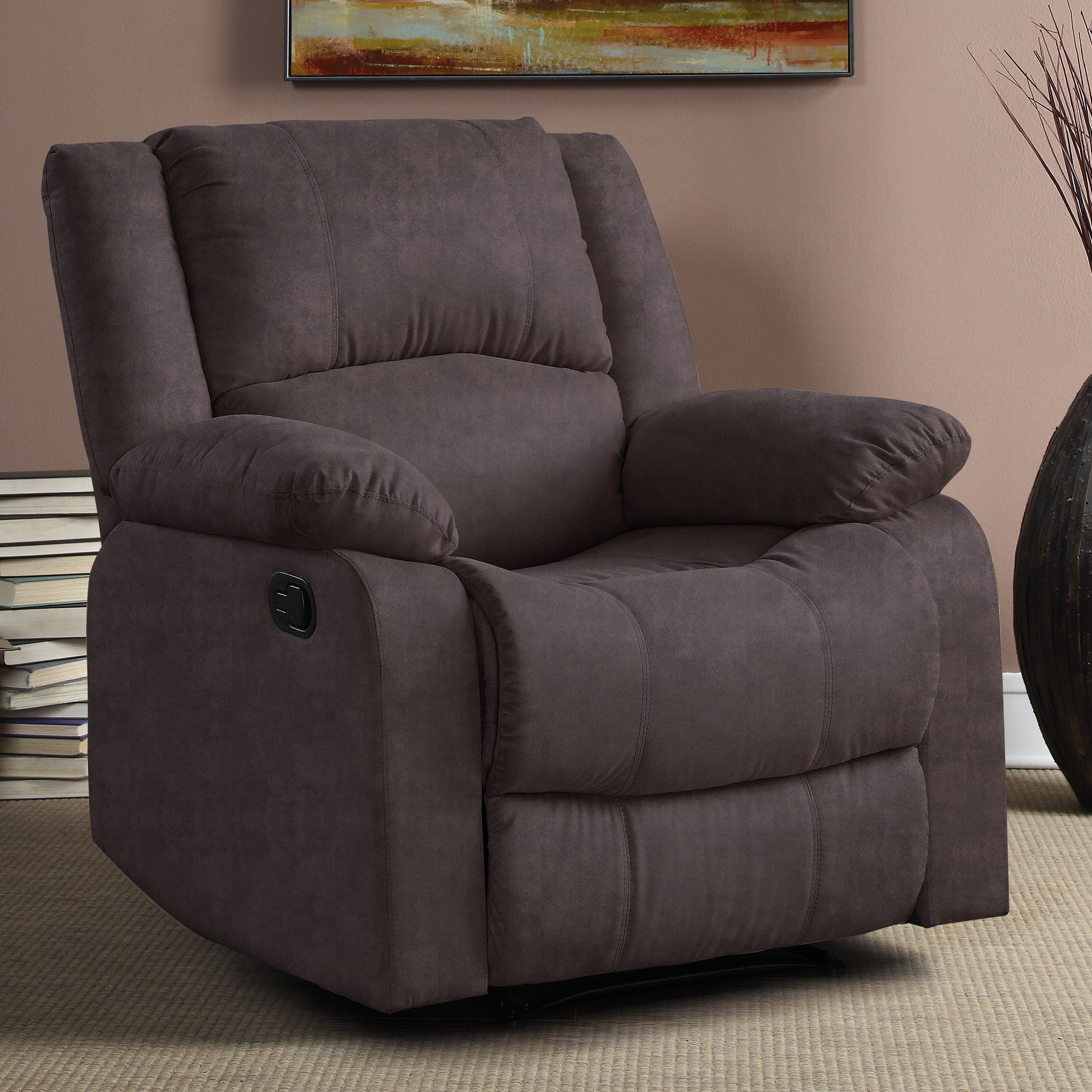 Warren Recliner Single Chair In Chocolate Microfiber